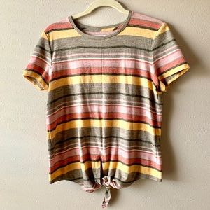 Madewell • Texture & Thread striped tie front tee